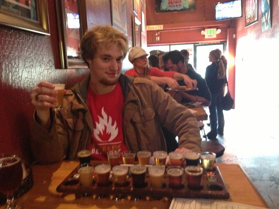 Me with the tasting flight at the famed Russian River Brewing Company