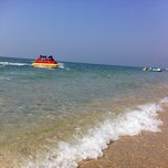 Photo taken at หาดบางแสน (Bang Saen Beach) by Linda C. on 1/9/2013