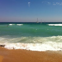 Photo taken at Platja del Pla de Montgat by Tair A. on 7/28/2013