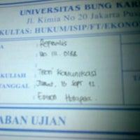 Photo taken at Universitas Bung Karno by Refinalis F. on 9/13/2012