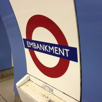 Photo taken at Embankment London Underground Station by Andrew K. on 7/20/2013