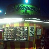 Photo taken at Vaqueros Carne Asada Taco Shop by Jetton P. on 1/5/2012