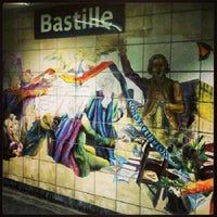 Photo taken at Métro Bastille [1,5,8] by Oscar V. on 3/3/2013