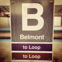 Photo taken at CTA - Belmont (Red/Brown/Purple) by Tim W. on 10/17/2012