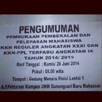 Photo taken at Universitas Negeri Makassar by Anhy O. on 6/25/2014