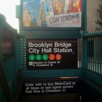 Photo taken at MTA Subway - Brooklyn Bridge/City Hall/Chambers St (J/Z/4/5/6) by Rafael A. on 12/17/2011