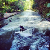 Photo taken at Eisbach Wave by Mustafa I. on 8/29/2012