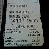 Photo taken at Amtrak Acela 2173 by Lambert T. on 11/18/2011
