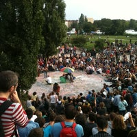 Photo taken at Sonntagskaraoke im Mauerpark by Florian on 8/7/2011