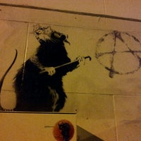 Photo taken at Banksy Mural: 'Glitter Glasses' Rat by Manixs M. on 3/16/2012