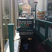 Photo taken at MTA Subway - Brooklyn Bridge/City Hall/Chambers St (J/Z/4/5/6) by Jack S. on 8/6/2012