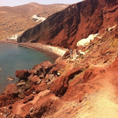 Photo taken at Κόκκινη Παραλία (Red Beach) by Tim J. on 6/21/2011