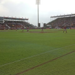 Photo taken at 7he Sevens Rugby Ground by Allan A. on 11/30/2012