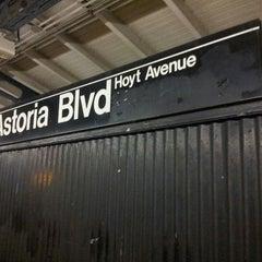 Photo taken at MTA Subway - Astoria Blvd/Hoyt Ave (N/Q) by Margaret P. on 3/16/2013