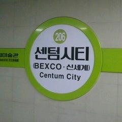 Photo taken at 센텀시티역 (Centum City Stn.) by Yosul Kongju M. on 1/25/2015