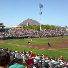 Photo taken at Scottsdale Stadium by Jon G. on 3/27/2012