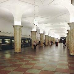 Photo taken at Метро Кропоткинская (metro Kropotkinskaya) by Ksenia F. on 7/11/2013