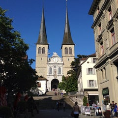Photo taken at Hofkirche by Clara H. on 5/31/2014