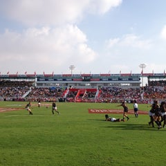 Photo taken at 7he Sevens Rugby Ground by Laurent B. on 12/1/2012