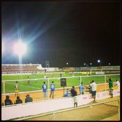 Photo taken at Estádio Municipal José Nazareno do Nascimento (Nazarenão) by Leonardo S. on 1/17/2013