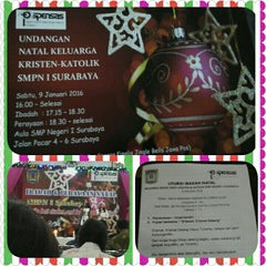 Photo taken at SMP Negeri 1 Surabaya by Rustina Ernawati P. on 1/9/2016