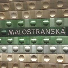 Photo taken at Metro =A= Malostranská by Ekaterina on 10/14/2012