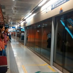 Photo taken at Delhi Aerocity Metro Station by David M. on 7/23/2014