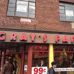 Photo taken at Gray's Papaya by Christopher R. on 4/13/2013