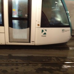 Photo taken at Tram T1/T2 Cornellà Centre by Lourdes B. on 10/30/2012