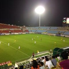 Photo taken at 광양축구전용구장 (Gwangyang Football Stadium) by WS L. on 7/22/2015