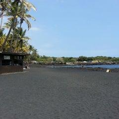 Photo taken at Punalu'u Black Sand Beach by Eric O. on 3/18/2013