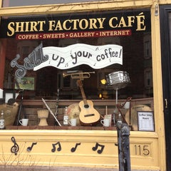 Photo taken at Shirt Factory Cafe by Jen P. on 3/2/2013
