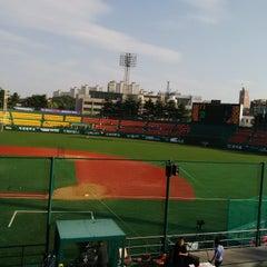 Photo taken at 청주종합운동장 야구장 (Cheongju Baseball Stadium) by 이성균 on 7/10/2014