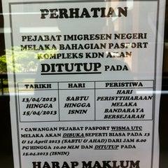 Photo taken at Jabatan Imigresen Malaysia - Melaka by Abd Wahid on 4/13/2013