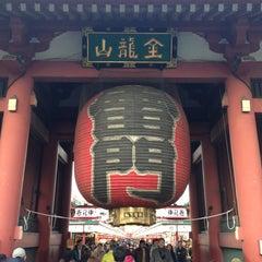 Photo taken at 浅草寺 雷門 (Kaminarimon Gate) by Ayano on 2/3/2013