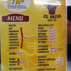 Photo taken at Taqueria El Paisa by Cristina S. on 11/19/2012