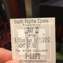 Photo taken at Marcus South Pointe Cinema by Lisa on 3/11/2012