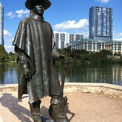 Photo taken at Stevie Ray Vaughan Statue by Harvey S. on 10/23/2011