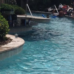 Photo taken at L'Auberge du Lac Pool Cabana #4 by Yvonne B. on 4/27/2012