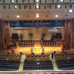 Photo taken at 연세대학교 대강당 (Yonsei University Main Auditorium) by Seok su L. on 2/27/2012