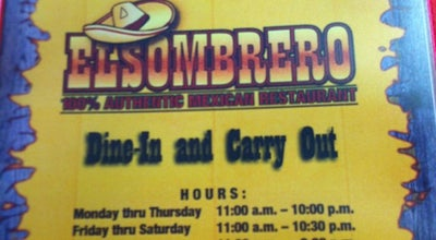 Photo of Mexican Restaurant El Sombrero at 1529 W Battlefield St, Springfield, MO 65807, United States