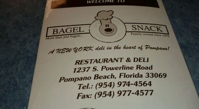 Photo of Bagel Shop Bagel Snack at 1237 S Powerline Rd, Pompano Beach, FL 33069, United States