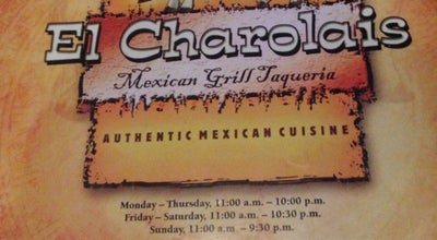 Photo of Mexican Restaurant El Charolais at 1805 W State Of Franklin Rd, Johnson City, TN 37604, United States