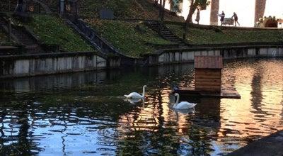 Photo of Lake Озеро в Лопатинском саду (с мостом) at Лопатинский Сад, Смоленск, Russia