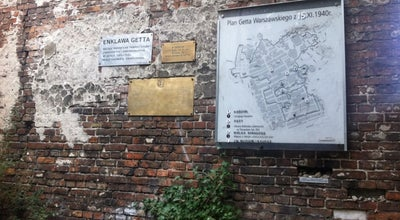 Photo of Historic Site Jewish Ghetto Wall in Warsaw at Sienna, Warszawa, Poland