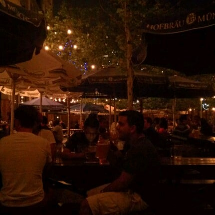 Photo taken at Zeppelin Hall Biergarten by Mariela J. M. on 7/4/2012