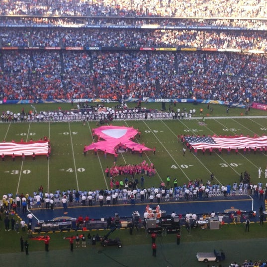 Photo taken at Qualcomm Stadium by Stevan K. on 10/16/2012