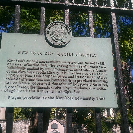 Photo taken at New York City Marble Cemetery by Gabrielle S. on 9/28/2013