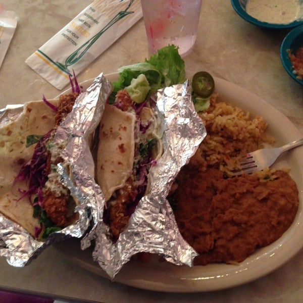 Possibly the best fish tacos I've ever had. Also get the jalapeño ranch dip with your chips.