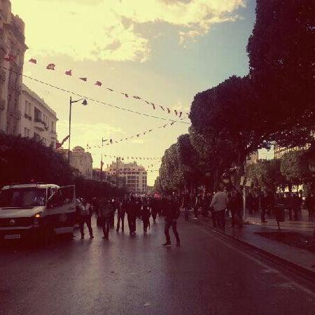 Photo taken at Avenue Habib Bourguiba I شارع الحبيب بورقيبة by Amine B. on 2/9/2013